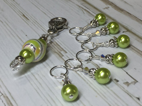 Chartreuse Green Stitch Marker Holder Set , Stitch Markers - Jill's Beaded Knit Bits, Jill's Beaded Knit Bits  - 6