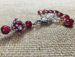 Cherry Red Knitting Bag Stitch Marker Lanyard Holder , Stitch Markers - Jill's Beaded Knit Bits, Jill's Beaded Knit Bits  - 3