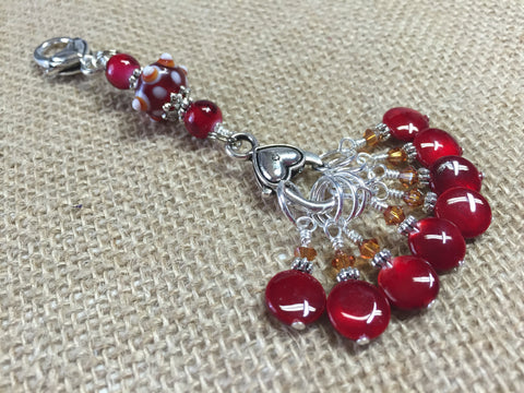 Cherry Red Knitting Bag Stitch Marker Lanyard Holder , Stitch Markers - Jill's Beaded Knit Bits, Jill's Beaded Knit Bits  - 1