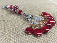 Cherry Red Knitting Bag Stitch Marker Lanyard Holder , Stitch Markers - Jill's Beaded Knit Bits, Jill's Beaded Knit Bits  - 4