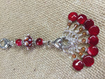 Cherry Red Knitting Bag Stitch Marker Lanyard Holder , Stitch Markers - Jill's Beaded Knit Bits, Jill's Beaded Knit Bits  - 6