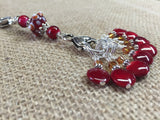 Cherry Red Knitting Bag Stitch Marker Lanyard Holder , Stitch Markers - Jill's Beaded Knit Bits, Jill's Beaded Knit Bits  - 2