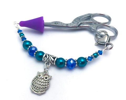 Chubby Owl Beaded Scissor Fob Jewelry