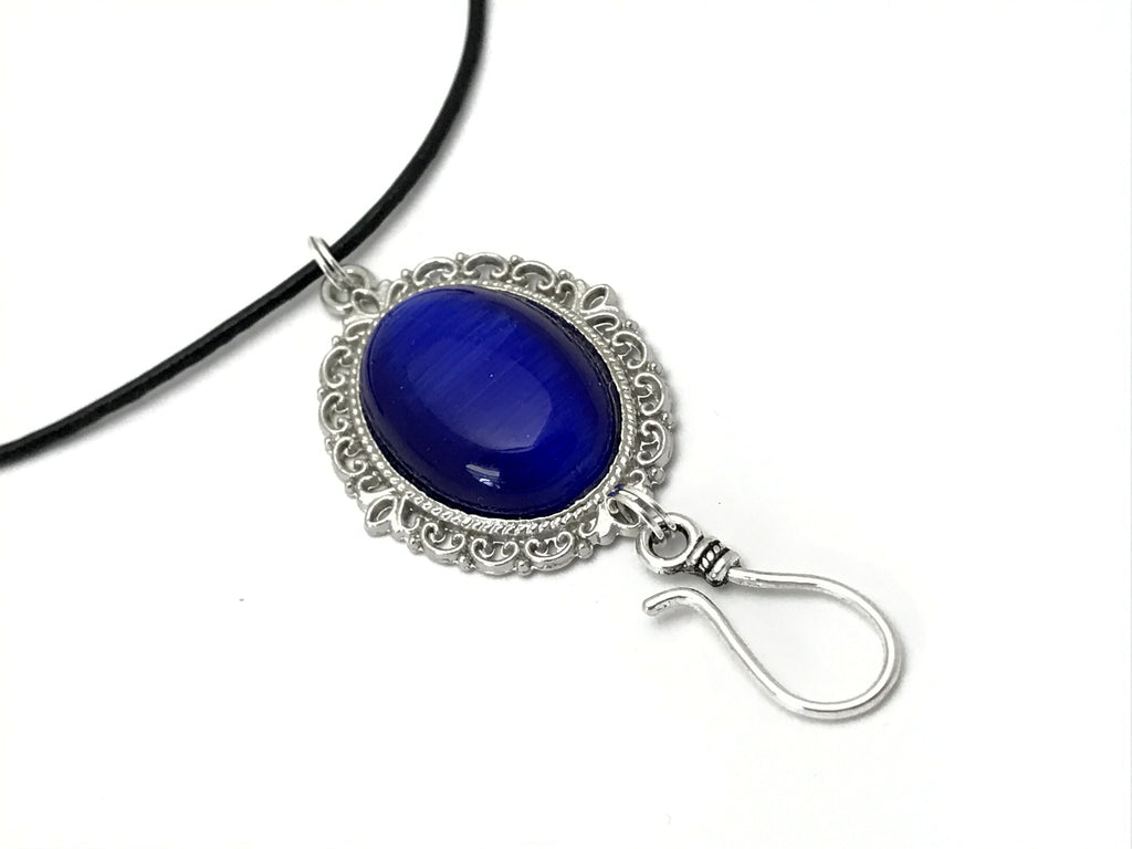 Cobalt Cats Eye Portuguese Knitting Necklace- Stitch Marker Holder