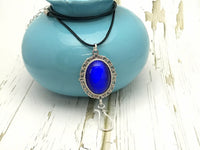Cobalt Cats Eye Portuguese Knitting Necklace | Work ID Holder