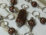 Stitch Marker Set- Copper Acrylic , Stitch Markers - Jill's Beaded Knit Bits, Jill's Beaded Knit Bits  - 2