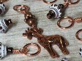 Copper Giraffe Stitch Marker Set , Stitch Markers - Jill's Beaded Knit Bits, Jill's Beaded Knit Bits  - 2