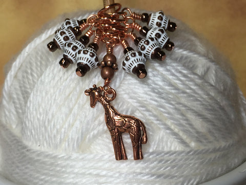 Copper Giraffe Stitch Marker Set , Stitch Markers - Jill's Beaded Knit Bits, Jill's Beaded Knit Bits  - 3