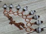 Copper Giraffe Stitch Marker Set , Stitch Markers - Jill's Beaded Knit Bits, Jill's Beaded Knit Bits  - 8