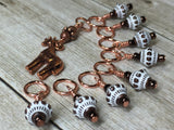 Copper Giraffe Stitch Marker Set , Stitch Markers - Jill's Beaded Knit Bits, Jill's Beaded Knit Bits  - 6