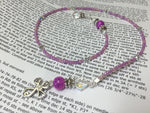 Cross Bookmark in Pink- Beaded Book Thong- Religious Gifts , Accessories - Jill's Beaded Knit Bits, Jill's Beaded Knit Bits  - 2