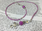 Cross Bookmark in Pink- Beaded Book Thong- Religious Gifts , Accessories - Jill's Beaded Knit Bits, Jill's Beaded Knit Bits  - 3