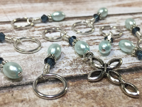 Baby Blue Cross Stitch Marker Set , Stitch Markers - Jill's Beaded Knit Bits, Jill's Beaded Knit Bits  - 2