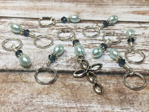 Baby Blue Cross Stitch Marker Set , Stitch Markers - Jill's Beaded Knit Bits, Jill's Beaded Knit Bits  - 4