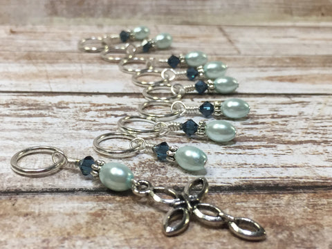 Baby Blue Cross Stitch Marker Set , Stitch Markers - Jill's Beaded Knit Bits, Jill's Beaded Knit Bits  - 6