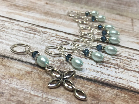 Baby Blue Cross Stitch Marker Set , Stitch Markers - Jill's Beaded Knit Bits, Jill's Beaded Knit Bits  - 7