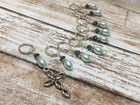 Baby Blue Cross Stitch Marker Set , Stitch Markers - Jill's Beaded Knit Bits, Jill's Beaded Knit Bits  - 3