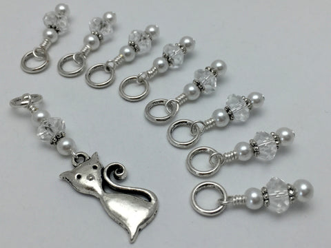 Elegant Cat Knitting Stitch Marker Set , Stitch Markers - Jill's Beaded Knit Bits, Jill's Beaded Knit Bits  - 1