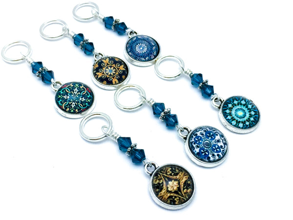 6 Snag Free Decorative Medallion Stitch Marker Charms- Gift for Knitters