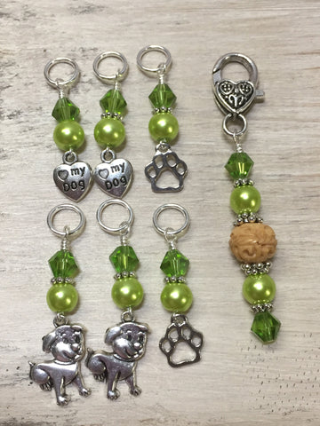 Dog Lovers Stitch Marker Set And Beaded Stitch Marker Holder , Stitch Markers - Jill's Beaded Knit Bits, Jill's Beaded Knit Bits  - 4