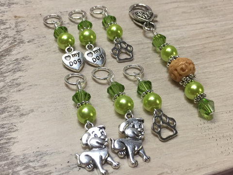 Dog Lovers Stitch Marker Set And Beaded Stitch Marker Holder