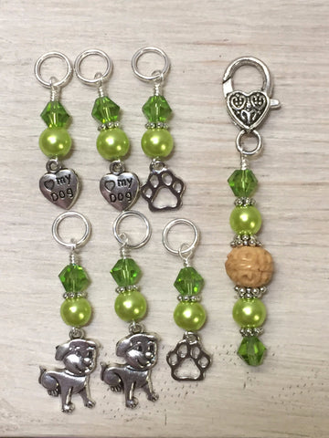 Dog Lovers Stitch Marker Set And Beaded Stitch Marker Holder , Stitch Markers - Jill's Beaded Knit Bits, Jill's Beaded Knit Bits  - 6