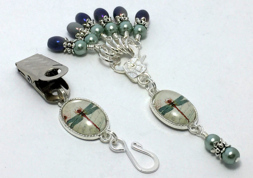 Dragonfly Portuguese Knitting Pin & Snag Free Stitch Marker Set , Portugese Knitting Pin - Jill's Beaded Knit Bits, Jill's Beaded Knit Bits  - 1
