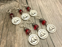 Elephant Stitch Marker Set, Snag Free, Red