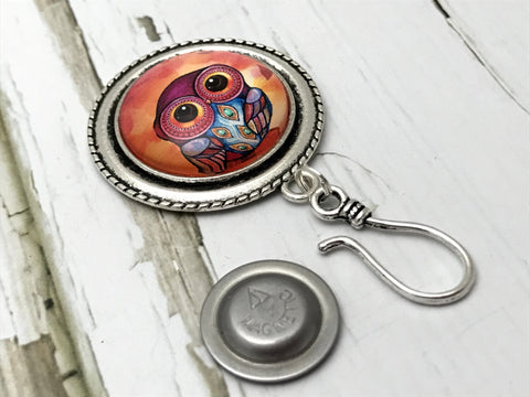Exotic Feathers Owl MAGNETIC Portuguese Knitting Pin- ID Badge Holder