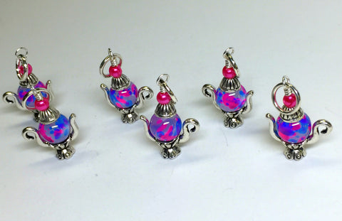 6 Spotted Teapot Stitch Markers- Gift for Knitters , Stitch Markers - Jill's Beaded Knit Bits, Jill's Beaded Knit Bits  - 4