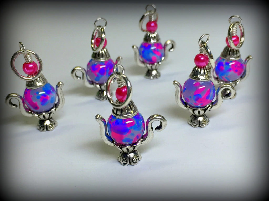 6 Spotted Teapot Stitch Markers- Gift for Knitters , Stitch Markers - Jill's Beaded Knit Bits, Jill's Beaded Knit Bits  - 1