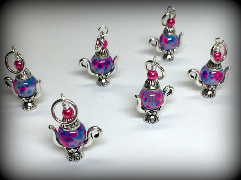 6 Spotted Teapot Stitch Markers- Gift for Knitters , Stitch Markers - Jill's Beaded Knit Bits, Jill's Beaded Knit Bits  - 3