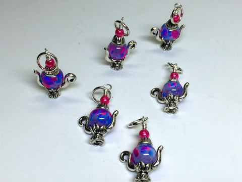 6 Spotted Teapot Stitch Markers- Gift for Knitters , Stitch Markers - Jill's Beaded Knit Bits, Jill's Beaded Knit Bits  - 6