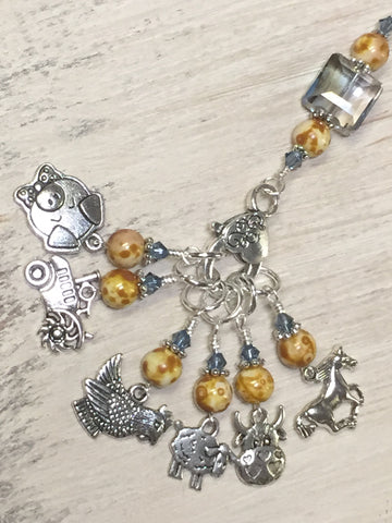 Farmyard Stitch Marker Set- Includes Beaded Stitch Marker Holder , Stitch Markers - Jill's Beaded Knit Bits, Jill's Beaded Knit Bits  - 8