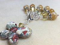 Floral Print Butterfly Stitch Marker Holder Set- Yellow , Stitch Markers - Jill's Beaded Knit Bits, Jill's Beaded Knit Bits  - 2