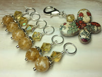 Floral Print Butterfly Stitch Marker Holder Set- Yellow , Stitch Markers - Jill's Beaded Knit Bits, Jill's Beaded Knit Bits  - 4