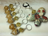 Floral Print Butterfly Stitch Marker Holder Set- Yellow , Stitch Markers - Jill's Beaded Knit Bits, Jill's Beaded Knit Bits  - 5