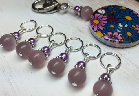 Multi-Colored Floral Stitch Marker Holder & Snag Free Purple Cats Eye Markers , Stitch Markers - Jill's Beaded Knit Bits, Jill's Beaded Knit Bits  - 9
