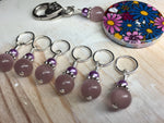 Multi-Colored Floral Stitch Marker Holder & Snag Free Purple Cats Eye Markers , Stitch Markers - Jill's Beaded Knit Bits, Jill's Beaded Knit Bits  - 8