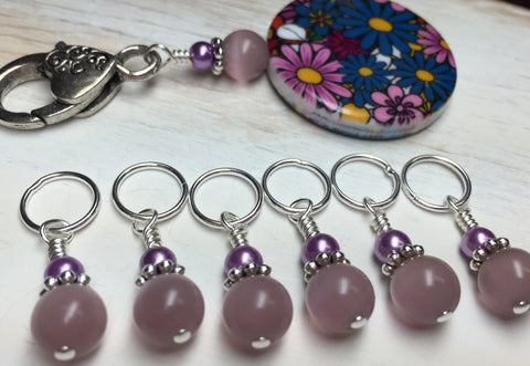 Multi-Colored Floral Stitch Marker Holder & Snag Free Purple Cats Eye Markers , Stitch Markers - Jill's Beaded Knit Bits, Jill's Beaded Knit Bits  - 5