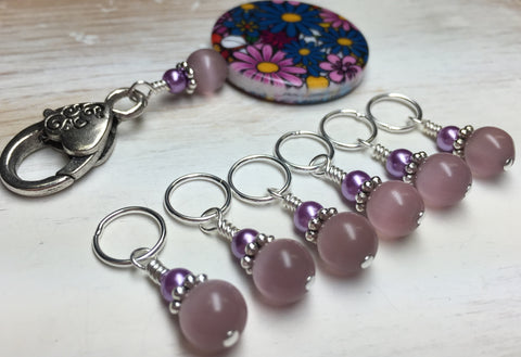 Multi-Colored Floral Stitch Marker Holder & Snag Free Purple Cats Eye Markers