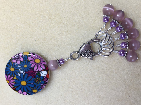 Multi-Colored Floral Stitch Marker Holder & Snag Free Purple Cats Eye Markers , Stitch Markers - Jill's Beaded Knit Bits, Jill's Beaded Knit Bits  - 3