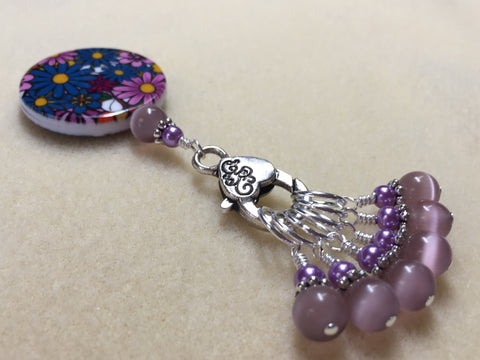 Multi-Colored Floral Stitch Marker Holder & Snag Free Purple Cats Eye Markers , Stitch Markers - Jill's Beaded Knit Bits, Jill's Beaded Knit Bits  - 4