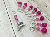 Flying Pig Stitch Marker Jewelry Set for Knitting , Stitch Markers - Jill's Beaded Knit Bits, Jill's Beaded Knit Bits  - 5