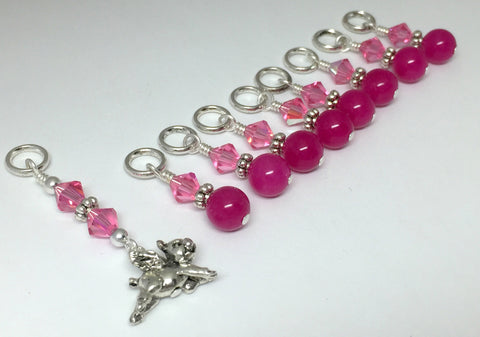 Flying Pig Stitch Marker Jewelry Set for Knitting , Stitch Markers - Jill's Beaded Knit Bits, Jill's Beaded Knit Bits  - 1