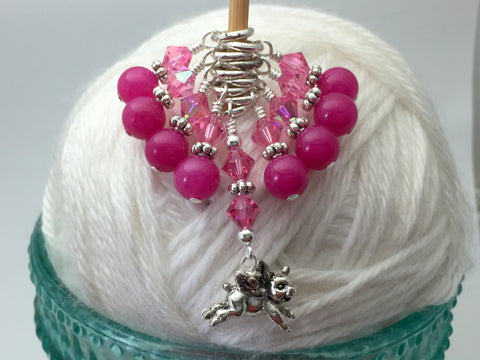 Flying Pig Stitch Marker Jewelry Set for Knitting , Stitch Markers - Jill's Beaded Knit Bits, Jill's Beaded Knit Bits  - 2