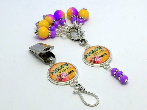 """Follow Your Dream"" Portuguese Knitting Pin & Stitch Marker Gift Set , Portugese Knitting Pin - Jill's Beaded Knit Bits, Jill's Beaded Knit Bits  - 2"
