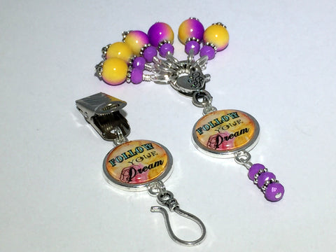"""Follow Your Dream"" Portuguese Knitting Pin & Stitch Marker Gift Set , Portugese Knitting Pin - Jill's Beaded Knit Bits, Jill's Beaded Knit Bits  - 7"