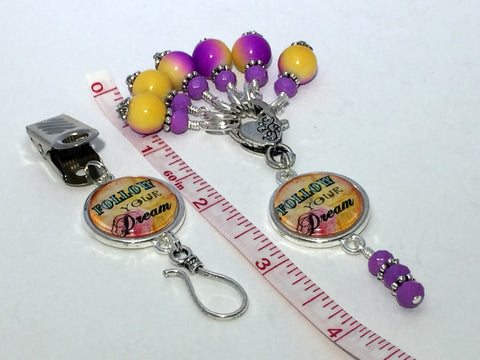 """Follow Your Dream"" Portuguese Knitting Pin & Stitch Marker Gift Set , Portugese Knitting Pin - Jill's Beaded Knit Bits, Jill's Beaded Knit Bits  - 5"