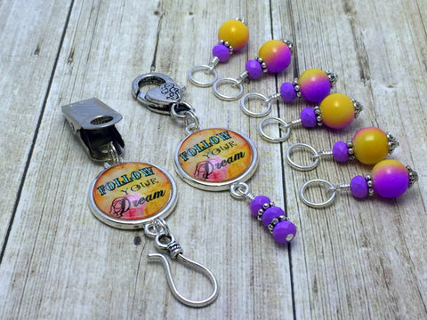 """Follow Your Dream"" Portuguese Knitting Pin & Stitch Marker Gift Set , Portugese Knitting Pin - Jill's Beaded Knit Bits, Jill's Beaded Knit Bits  - 6"
